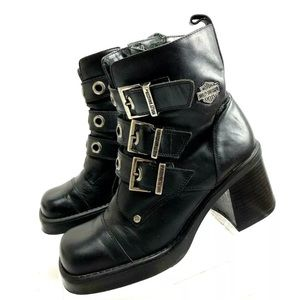 Harley Davidson Women's Boots Black Chunky Buckle